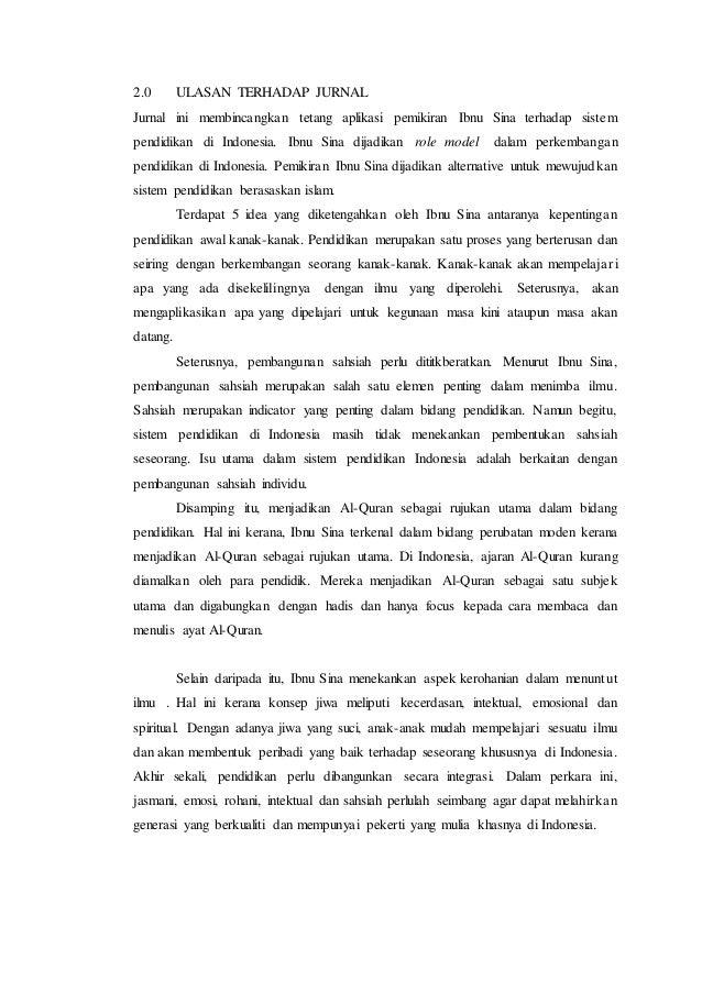 falsafah ilmu Falsafah ilmu : ulasan jurnal 1 10 tajuk dan biodata penulis tajuk  jurnal yang pengkaji ulaskan ialah pemikiran pendidikan ibnu sina.