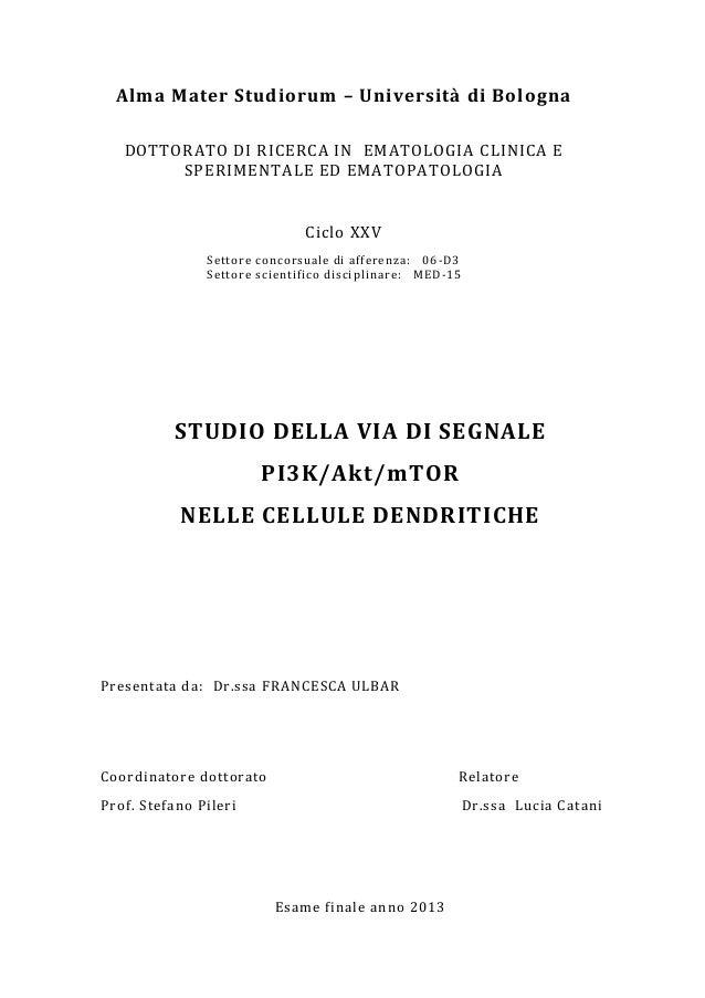 Alma Mater Studiorum – Università di Bologna DOTTORATO DI RICERCA IN EMATOLOGIA CLINICA E SPERIMENTALE ED EMATOPATOLOGIA  ...
