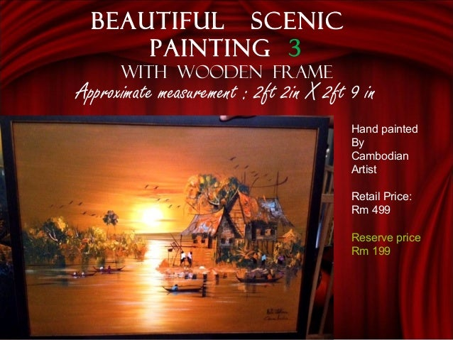 Approximate measurement : 2ft 2in X 2ft 9 in Beautiful scenic painting 3 With wooden frame Hand painted By Cambodian Artis...