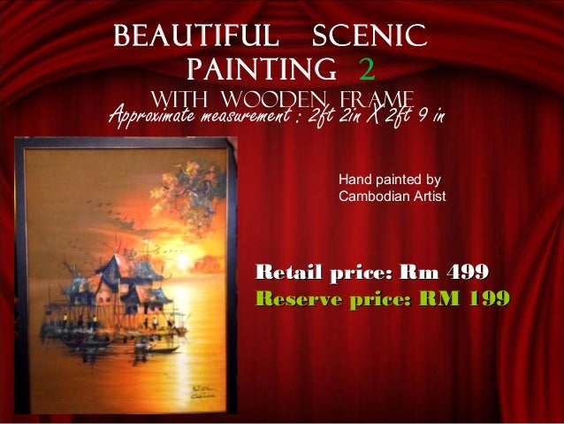 Approximate measurement : 2ft 2in X 2ft 9 in Beautiful scenic painting 2 With wooden frame Retail price: Rm 499Retail pri...