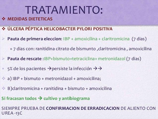 TRATAMIENTO: MEDIDAS DIETETICAS ÚLCERA PÉPTICA HELICOBACTER PYLORI POSITIVA Pauta de primera eleccion: IBP + amoxicilin...