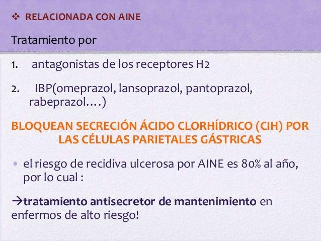  RELACIONADA CON AINETratamiento por1.   antagonistas de los receptores H22.    IBP(omeprazol, lansoprazol, pantoprazol, ...