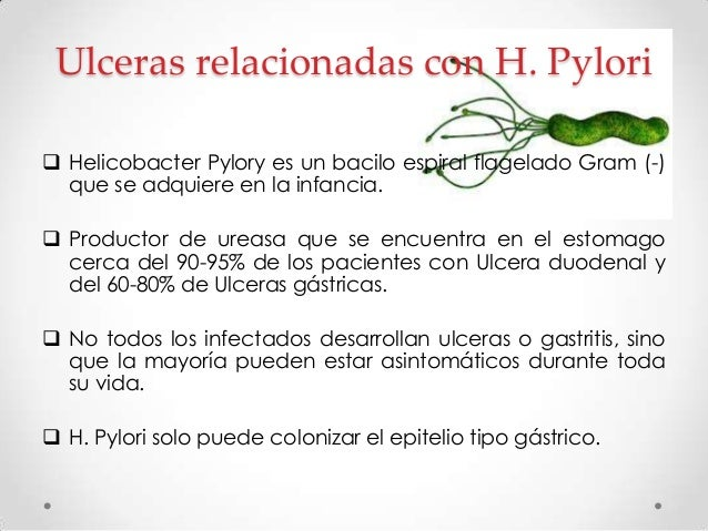 En casi todas las ulceras duodenales y gástricas no relacionadas con AINE, H. Pylori es un cofactor necesario .  1 de cad...