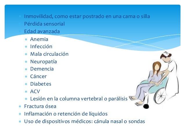  Inmovilidad, como estar postrado en una cama o silla   Pérdida sensorial   Edad avanzada   Anemia   Infección   Mal...