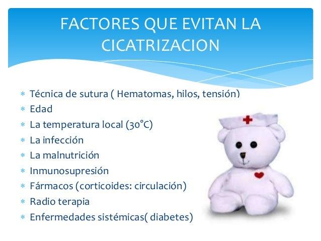 FACTORES QUE EVITAN LA  CICATRIZACION   Técnica de sutura ( Hematomas, hilos, tensión)   Edad   La temperatura local (3...