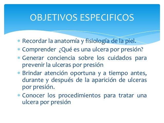 OBJETIVOS ESPECIFICOS   Recordar la anatomía y fisiología de la piel.   Comprender ¿Qué es una ulcera por presión?   Ge...
