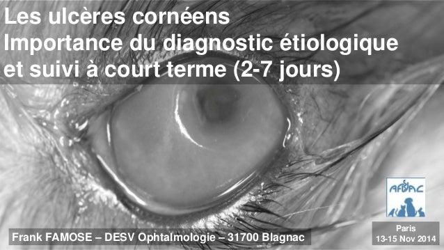Les ulcères cornéens  Importance du diagnostic étiologique  et suivi à court terme (2-7 jours)  Frank FAMOSE – DESV Ophtal...