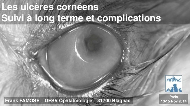 Les ulcères cornéens  Suivi à long terme et complications  Frank FAMOSE – DESV Ophtalmologie – 31700 Blagnac  Paris  13-15...