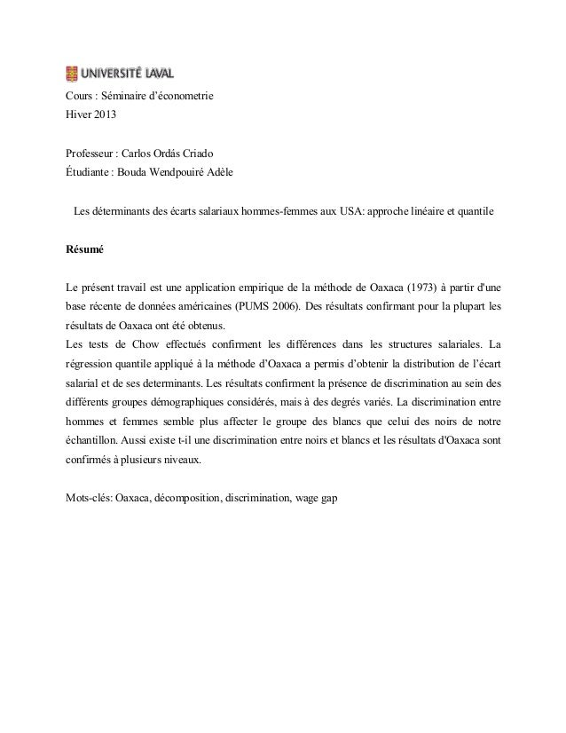 Cours : Séminaire d'économetrie Hiver 2013 Professeur : Carlos Ordás Criado Étudiante : Bouda Wendpouiré Adèle Les détermi...