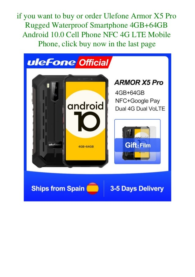 Ulefone armor x5 pro rugged waterproof smartphone 4 gb+64gb android 10.0 cell phone nfc 4g lte mobile phone  Slide 3