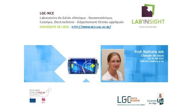 LGC-NCE Laboratoire de Génie chimique - Nanomatériaux, Catalyse, Electrochimie - Département Chimie appliquée UNIVERSITÉ D...