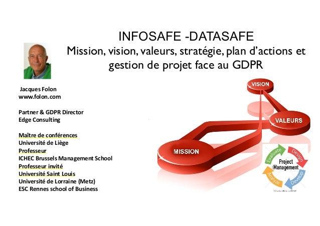 INFOSAFE -DATASAFE Mission, vision, valeurs, stratégie, plan d'actions et gestion de projet face au GDPR JacquesFolon w...