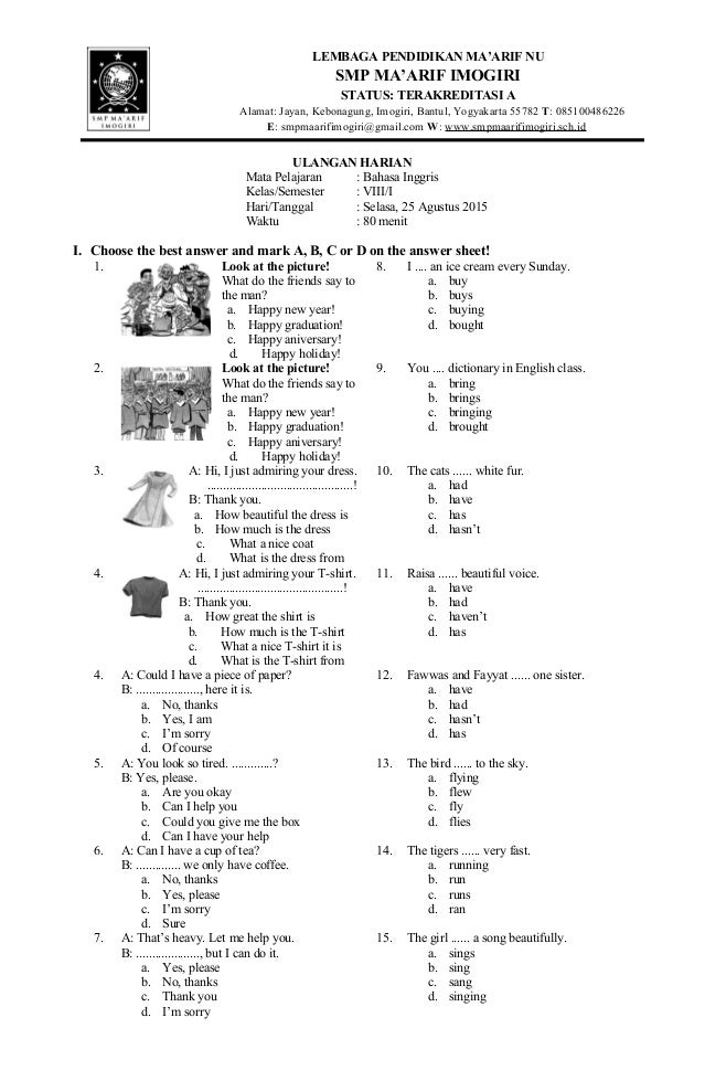 Kunci Jawaban Lks Intensif Bahasa Inggris Kelas 8