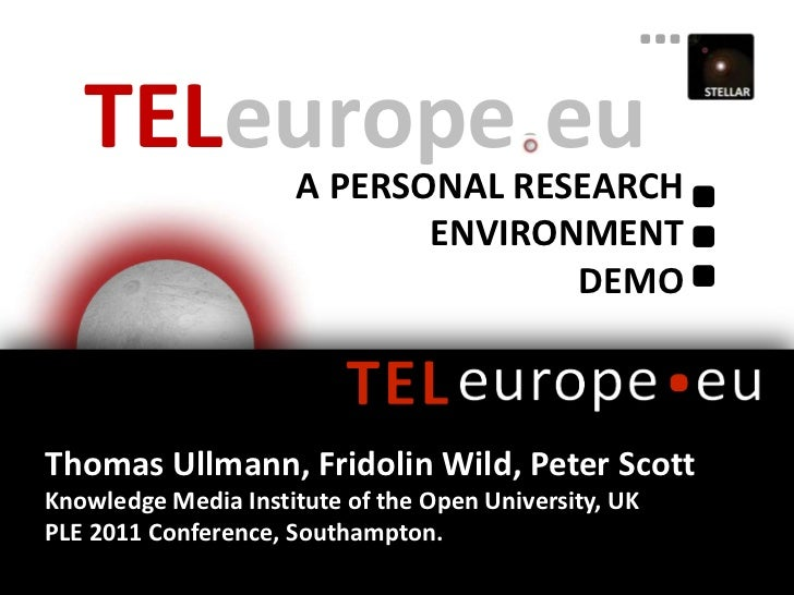 TELeurope.eu<br />A PERSONAL Research Environment<br />Demo<br />Thomas Ullmann, Fridolin Wild, Peter Scott<br />Knowledge...