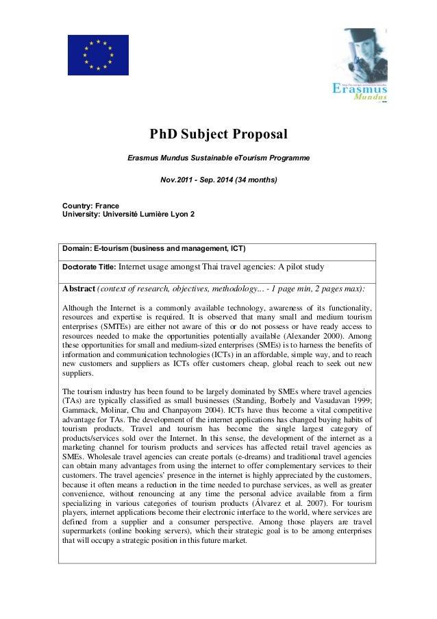 PhD Subject Proposal Erasmus Mundus Sustainable eTourism Programme Nov.2011 - Sep. 2014 (34 months) Country: France Univer...