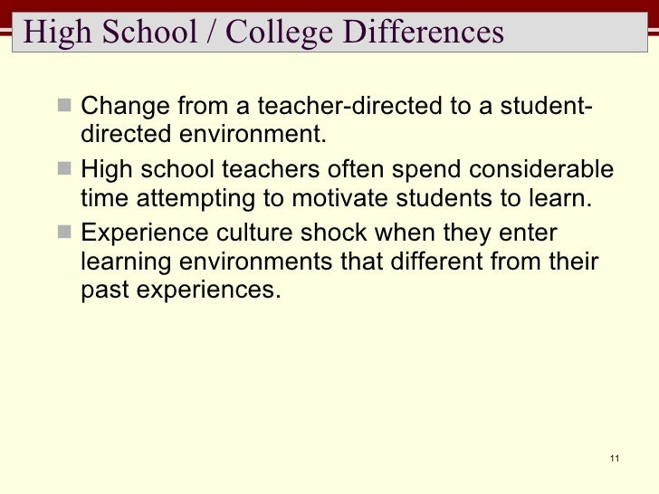 High School / College Differences <ul><li>Change from a teacher-directed to a student-directed environment.  </li></ul><ul...