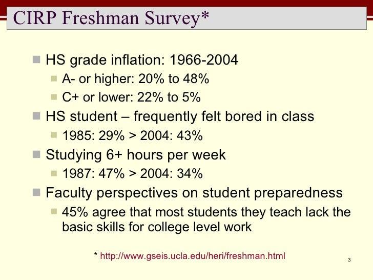 CIRP Freshman Survey* <ul><li>HS grade inflation: 1966-2004 </li></ul><ul><ul><li>A- or higher: 20% to 48% </li></ul></ul>...