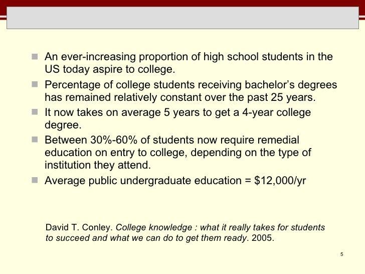 <ul><li>An ever-increasing proportion of high school students in the US today aspire to college.  </li></ul><ul><li>Percen...