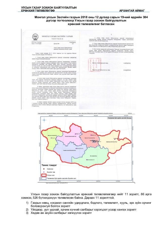 УЛСЫН ГАЗАР ЗОХИОН БАЙГУУЛАЛТЫН ЕРӨНХИЙ ТӨЛӨВЛӨГӨӨ АРХАНГАЙ АЙМАГ Монгол улсын Засгийн газрын 2018 оны 12 дугаар сарын 19-...