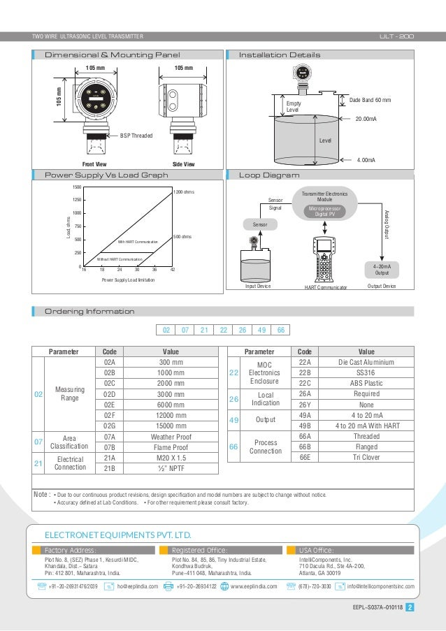 Two Wire Ultrasonic-Level-Transmitter : ULT200 Ultrasonic Level Transmitter Wiring Diagram on pressure transmitter, temperature transmitter, wireless speaker transmitter, flow transmitter, capacitive transmitter,