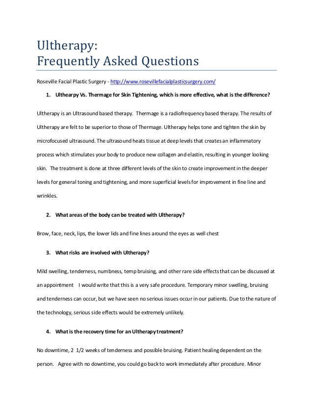 Frequently Asked Questions: Ultherapy