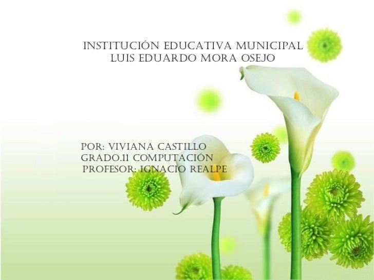 Institución educativa municipal Luis Eduardo mora Osejo Por: Viviana castillo Grado.11 computación Profesor: Ignacio realpe