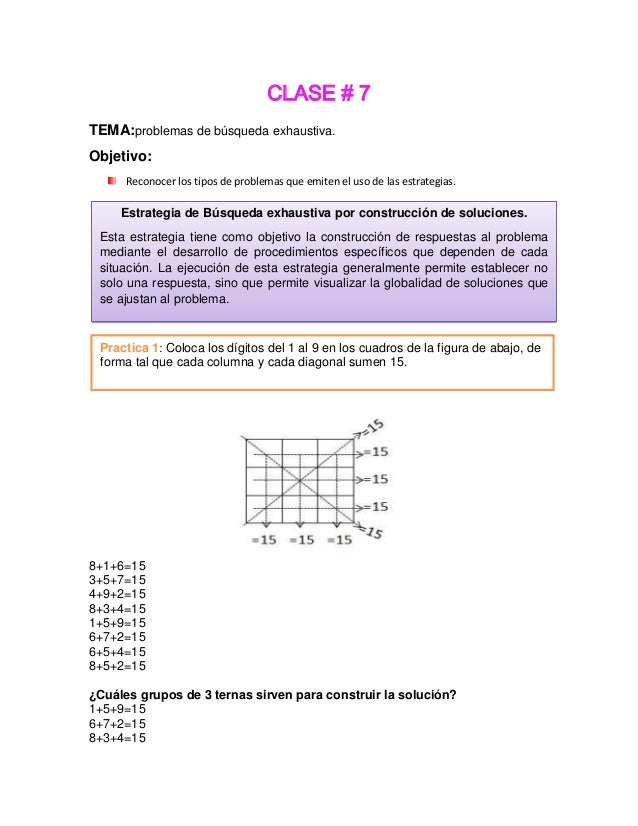 CLASE # 7 TEMA:problemas de búsqueda exhaustiva. Objetivo: Reconocer los tipos de problemas que emiten el uso de las estra...