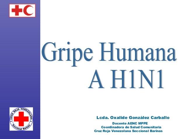 Lcda. Oxalide González Carballo Docente AENC MPPE Coordinadora de Salud Comunitaria Cruz Roja Venezolana Seccional Barinas