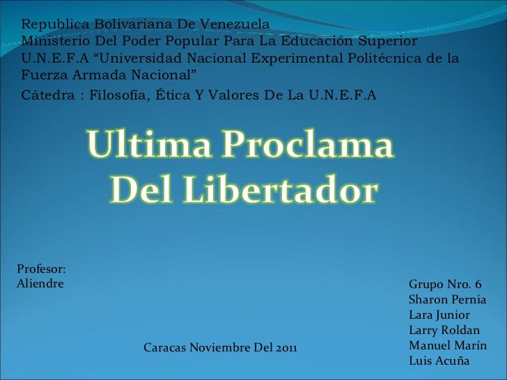 "Republica Bolivariana De Venezuela Ministerio Del Poder Popular Para La Educación Superior U.N.E.F.A ""Universidad Nacional..."