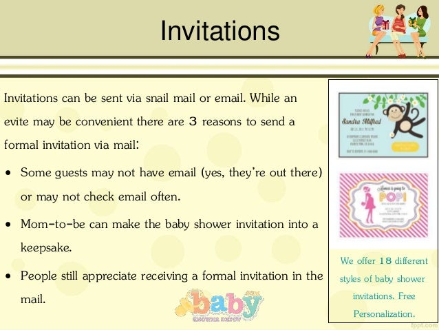 The definitive guide to planning a baby shower invitations invitations can be sent via snail mail filmwisefo