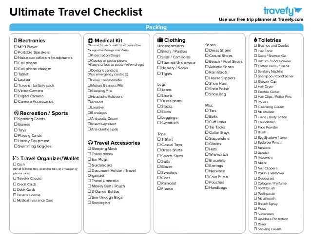 Ultimate Travel Planning Amp Packing Checklist
