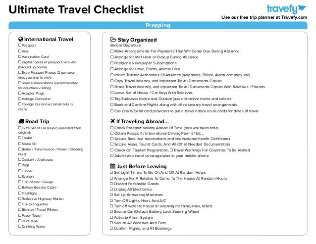Ultimate Travel Planning Packing Checklist – Travel Checklist