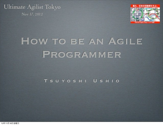 Ultimate Agilist Tokyo               Nov 17, 2012               How to be an Agile                 Programmer             ...