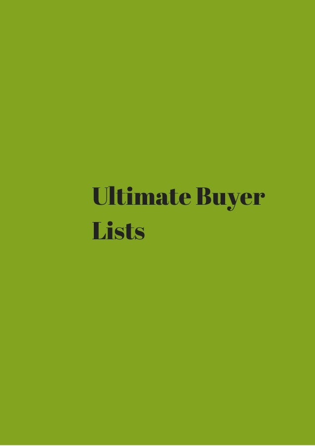 Ultimate Buyer  Lists