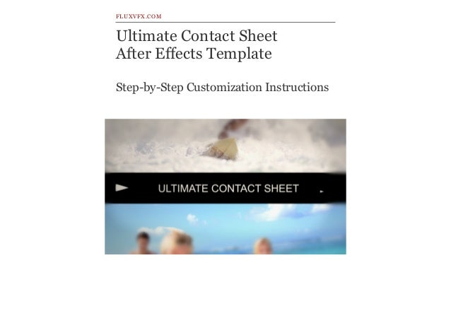 Ultimate Contact Sheet After Effects Template Step-by-Step Customization Instructions FLUXVFX.COM