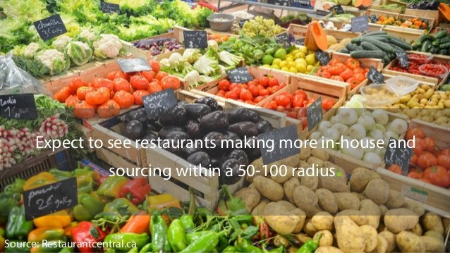 Expect to see restaurants making more in-house and sourcing within a 50-100 radius. Source: Restaurantcentral.ca
