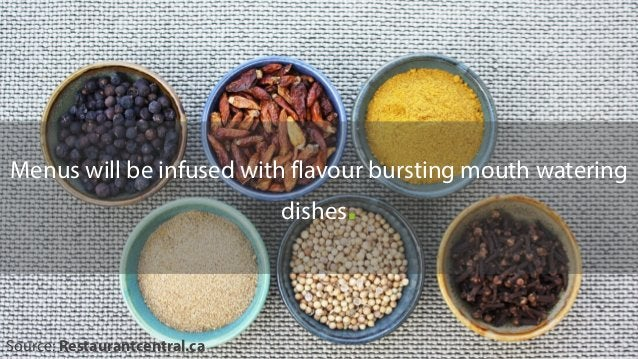 Menus will be infused with flavour bursting mouth watering dishes. Source: Restaurantcentral.ca