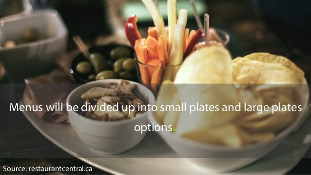Menus will be divided up into small plates and large plates options. Source: restaurantcentral.ca