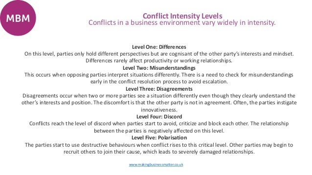 the different techniques used for resolving the inherent disagreements When we don't understand that others may have quite different starting points, conflict is more likely to occur and to escalate  conflict and culture:.