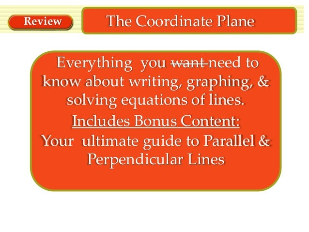Review  The Coordinate Plane  Everything you want need to know about writing, graphing, & solving equations of lines. Incl...