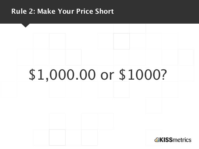 Rule 2: Make Your Price Short    $1,000.00 or $1000?