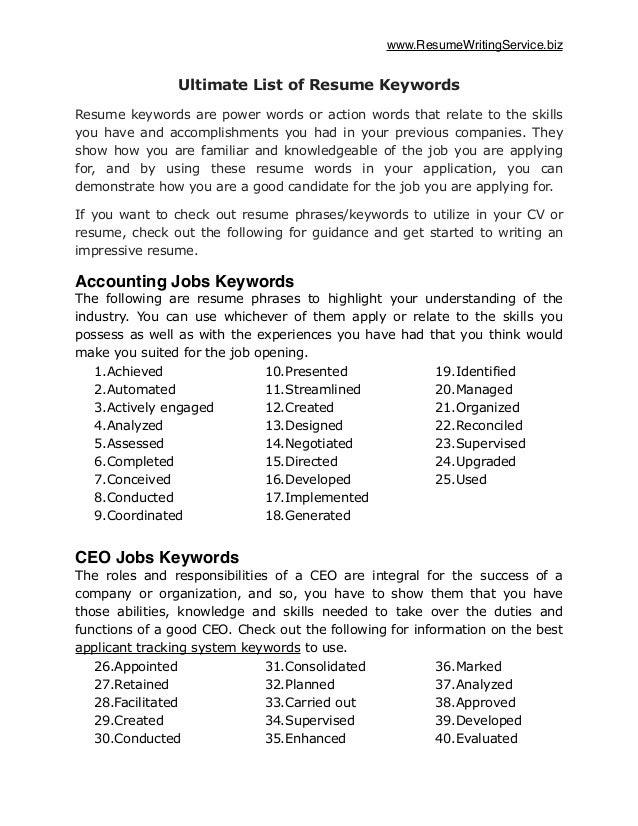 industry keywords for resume