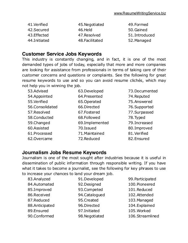 List Of Keywords For Federal Resumes