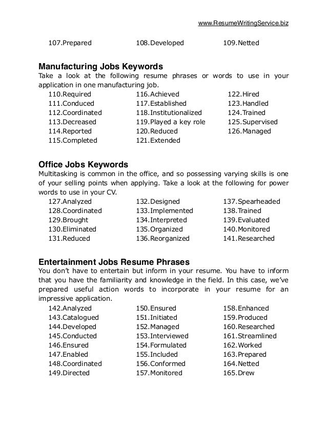 keywords - Resume Cover Letter Key Phrases