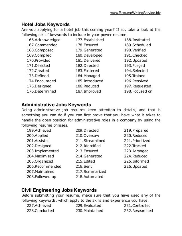 traditional exles of resume words keywords to