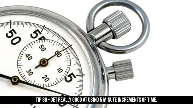 TIP 88 - Get really good at using 5 minute increments of time.