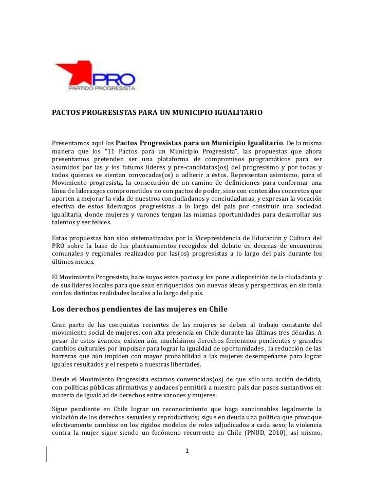 PACTOS PROGRESISTAS PARA UN MUNICIPIO IGUALITARIOPresentamos aquí los Pactos Progresistas para un Municipio Igualitario . ...