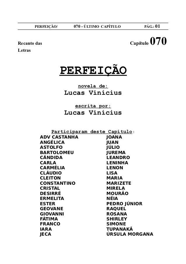 PERFEIÇÃO/     070 - ÚLTIMO CAPÍTULO         PÁG.: 01Recanto das                                   Capítulo   070Letras   ...