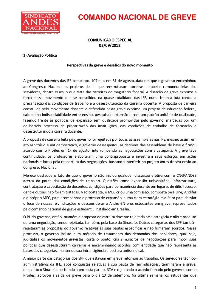 COMANDO NACIONAL DE GREVE                                       COMUNICADO ESPECIAL                                       ...