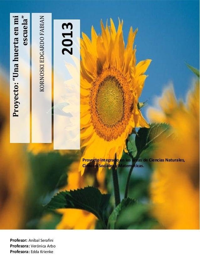 """2013  KORNOSKI EDGARDO FABIAN  Proyecto: """"Una huerta en mi escuela""""  Proyecto integrado en las áreas de Ciencias Naturales..."""
